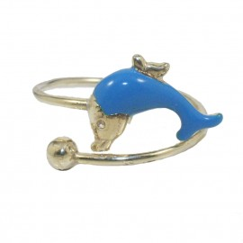 Children's ring made of silver gold plated with dolphin design  0100D