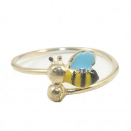 Children's ring made of silver gold plated with bee design 0100B