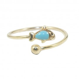 Children's ring made of silver gold plated with fish design  0100F