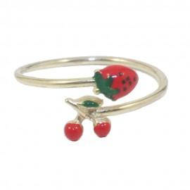 Children's ring made of silver gold plated with fruits design with enamel  0100F