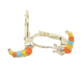 Παιδικά σκουλαρίκια από ασήμι επιχρυσωμένα με πολύχρωμες κάμπιες 11815