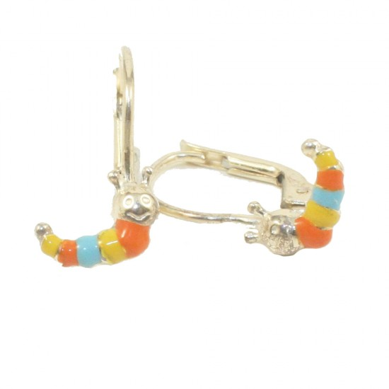 Children's earrings made of silver gold plated with colorful caterpillars with enamel 11815