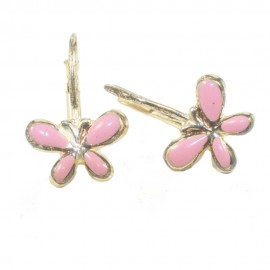 Children's earrings made of silver gold plated with butterflies colored with enamel 14215
