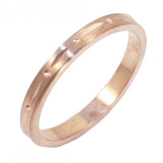 Βέρα ροζ χρυσό Κ14 με σχέδιο και λουστραριστή 223223
