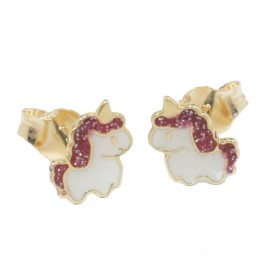 Children's earrings gold K14 with unicorn design with white and red enamel  05470