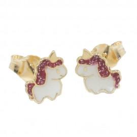 Παιδικά σκουλαρίκια χρυσά Κ14 με σχέδιο τον μονόκερο με σμάλτο 05470