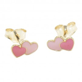 Children's earrings gold K14 with hearts with pink and red enamel  05390