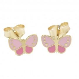 Children's earrings gold K14 with butterflies with enamel 05375