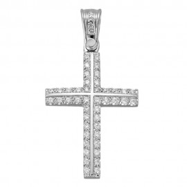 Cross K14 white gold polished with white zircons 3841
