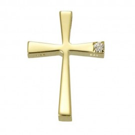 Cross K14 gold polished with white zircons for baptism or for engagement  36536