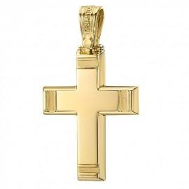 Σταυρός Κ14 χρυσός με σχέδιο λουστραριστός και ματ για βάπτιση 2743