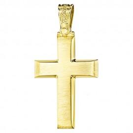 Σταυρός Κ14 χρυσός λουστραριστός για βάπτιση 22332