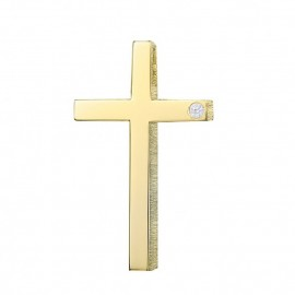 Cross K14 gold polished and matte with white zircon for baptism or for engagement  25532
