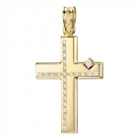 Cross K14 gold polished with white zircons for baptism  25348