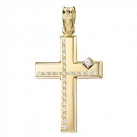 Σταυρός Κ14 χρυσός λουστραριστός με λευκά ζιργκόν για βάπτιση 25348