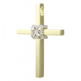Cross K14 gold polished with white gold flower with white zircons 2941