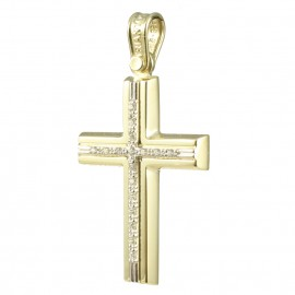Cross K14 gold bi color and polished with white zircon for baptism  29548