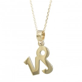 Necklace gold K14 with the Zodiac sign Capricorn and chain 14516C