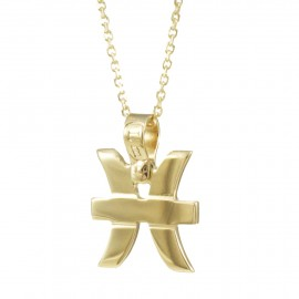 Necklace K14 gold with the zodiac sign Pisces and chain  15517P