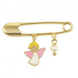 Gold children's nannies K9 with pearl and angel with enamel 0880G