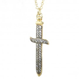 Necklace with the design of the sword made of silver gold plated with white zircons and black platinum P63093