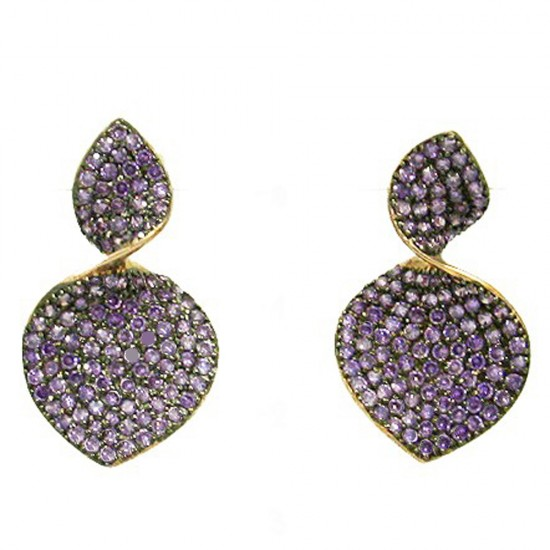Silver earrings gold plated with rose gold black platinum and zircon in amethyst color
