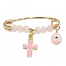 Children's nannies K14 gold with Cross and enamel eye with pink quartz for baptism 1206