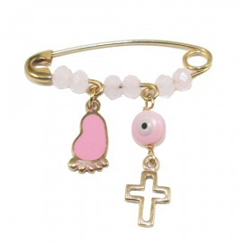 Children's nannies gold K9 with Cross and foot with pink enamel for baptism 1206F