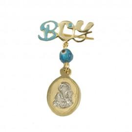 Καρφίτσα χρυσή Κ9 με την εικόνα της Παναγίας και την λέξη boy για βάπτιση 09586