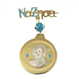 Καρφίτσα χρυσή Κ9 με την εικόνα του Χριστού και την λέξη να ζήσει 14126