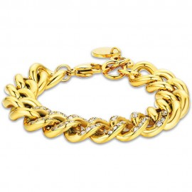 Women's stainless steel bracelet in gold color and white crystals  BK2070