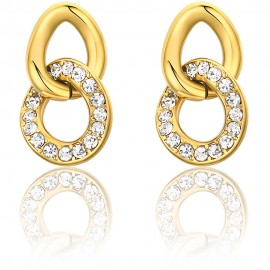 Earrings in gold color made of stainless steel with white crystals  OK1107