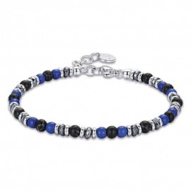 Handcuffs for men made of stainless steel with stones in blue and black  BA1277