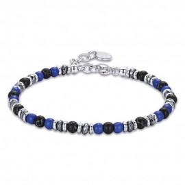 Χειροπέδα για τον άνδρα από ανοξείδωτο ατσάλι με πέτρες σε μπλε και μαύρο χρώμα BA1277
