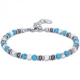 Handcuffs for men made of stainless steel with stones in white and blue color  BA1278