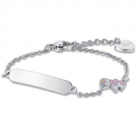 Children's bracelet made of stainless steel with unicorn with enamel for baptism  JB120