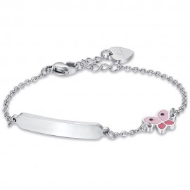 Children's  bracelet made of stainless steel with butterfly with enamel for baptism  JB109