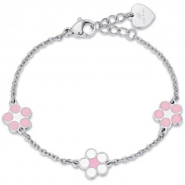 Children's bracelet with enamel  flowers made of stainless steel  JB105