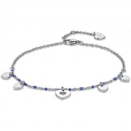 Αλυσίδα ποδιού με καρδιές και μπλέ χρώμα πέτρες από ανοξείδωτο ατσάλι CV118