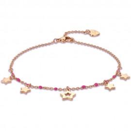 Αλυσίδα ποδιού με αστέρια σε ροζ χρυσό χρώμα από ανοξείδωτο ατσάλι CV120