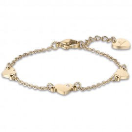 Children's bracelet with hearts in gold color made of stainless steel  JB115