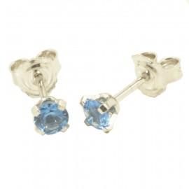 Σκουλαρίκια λευκόχρυσα Κ14 μονόπετρα με φυσικά zirconia σε χρώμα Swiss blue 08534