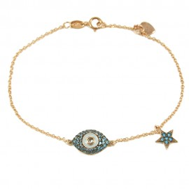 Rose gold bracelet K9 with eye and star with blue natural zirconia and white enamel Bracelet length 17.5 cm