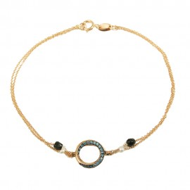 Bracelet rose gold circle K14 with double chain with zircon in blue color and white pearls Bracelet length 18 cm