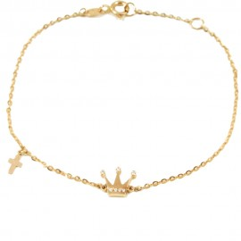 Rose gold bracelet K14 with crown with natural white zircons and Cross Bracelet length 17.5 cm