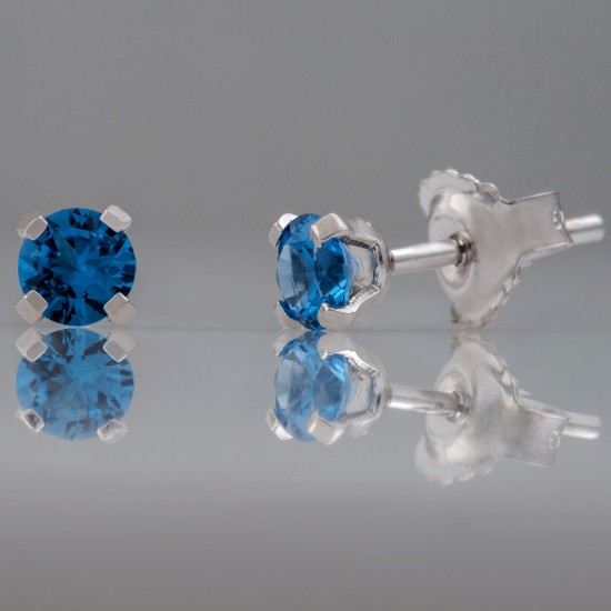 Earrings white gold K14 solitaire with natural zirconia in color Swiss blue  08534