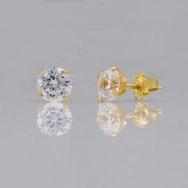 Σκουλαρίκια χρυσά Κ14 μονόπετρα με φυσικά zirconia 07028G