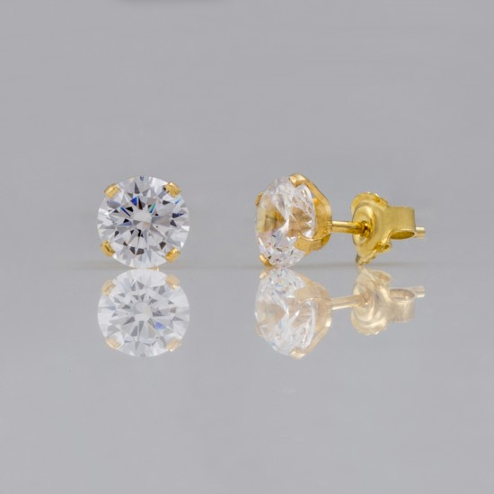 Earrings gold K14 solitaire with natural zirconia  07028G