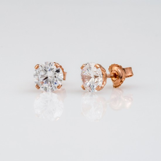 Earrings rose gold K14 solitaire with natural zirconia in white color   0905R
