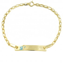 Children's bracelet gold K9 for baptism with the word boy with enamel 18144